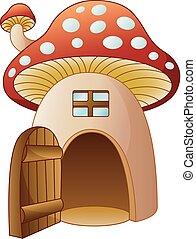ouvrez foyer, porte, dessin animé, champignon