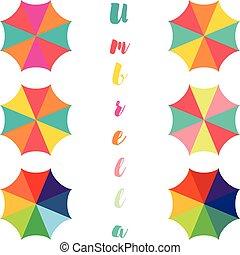 ouvrez parapluie, ensemble, parapluie, coloré