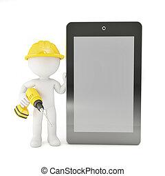ouvrier, à, ordinateur portable