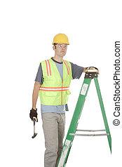 ouvrier, échelle, construction, marteau