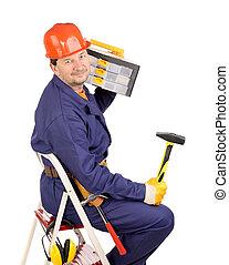 ouvrier, échelle, marteau, boîte outils