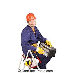 ouvrier, échelle, marteau, toolbox.