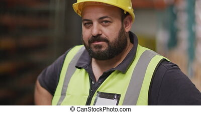 ouvrier, élevé, dur, mâle, usine chapeau, caucasien, porter...