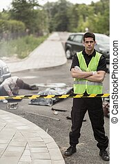 ouvrier, accident voiture, service, remorquage
