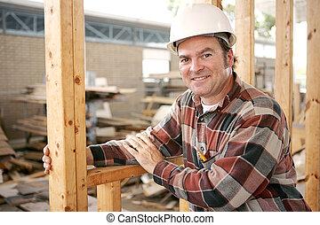 ouvrier, amical, construction