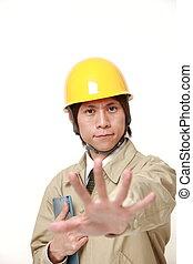 ouvrier, arrêt, jeune, japonaise, construction, confection, geste