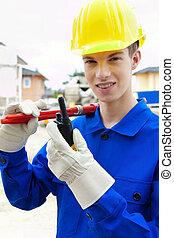 ouvrier bâtiment, site, /, construction, trainee., apprenti