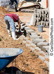 ouvrier, blocs, construction, pose