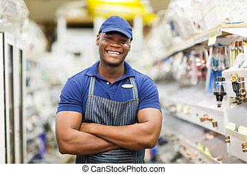 ouvrier, bras, matériel, américain, traversé, afro