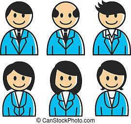 ouvrier, bureau, icône