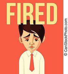 ouvrier, caractère, mis feu, bureau