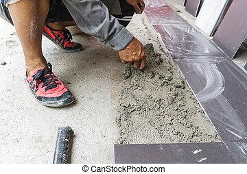 ouvrier, carrelé