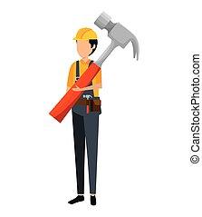 ouvrier, casque, constructeur, marteau