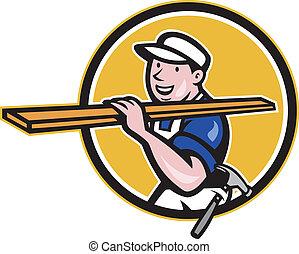 ouvrier, charpentier, porter, cercle, dessin animé, bois construction