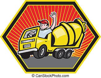 ouvrier, chauffeur, ciment, construction, camion, mélangeur
