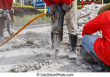 ouvrier, ciment, construction, forage, utilisation, terrestre