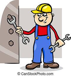 ouvrier, clé, illustration, dessin animé