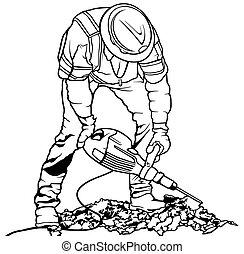 ouvrier, constructeur, marteau pneumatique