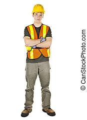 ouvrier construction, à, bras croisés