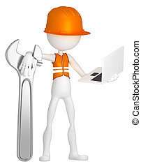 ouvrier construction, à, ordinateur portable