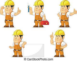 ouvrier, construction, 5, fort, mascotte