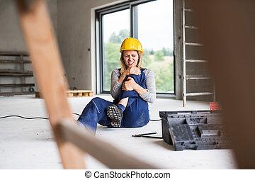 ouvrier construction, accident, site., femme