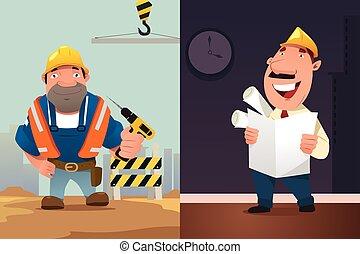 ouvrier, construction, architecte, dessin animé