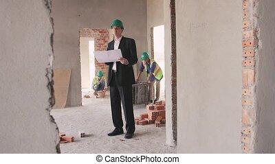 ouvrier construction, asiatique, site