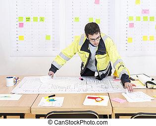 ouvrier construction, bureau