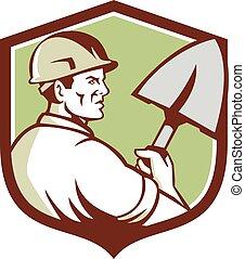 ouvrier, construction, crête, retro, bêche
