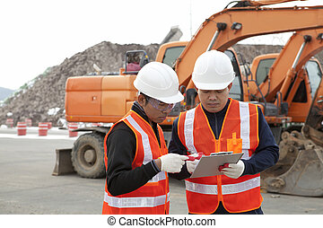 ouvrier construction, et, excavateur