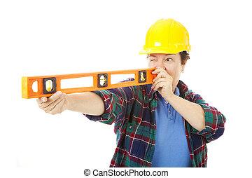 ouvrier, construction, -, femme, niveau