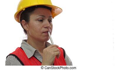 ouvrier construction, femme, rêvasser