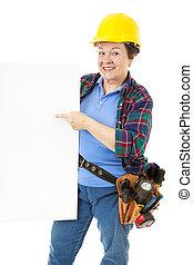 ouvrier, construction, -, femme, signe