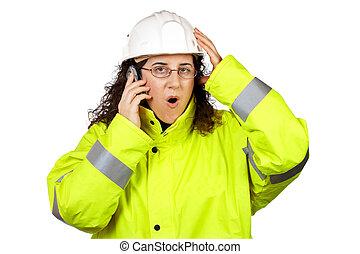 ouvrier construction, femme, surpris