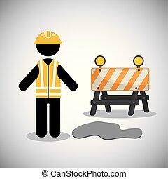 ouvrier, construction, illustration, vecteur, endroit, sous