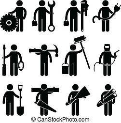 ouvrier construction, métier, icône, pictog