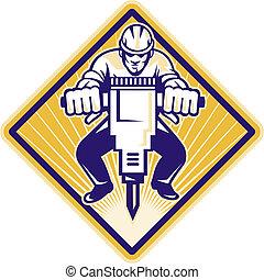 ouvrier, construction, marteau, forage, cric