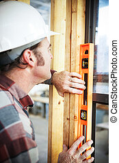ouvrier construction, -, niveau