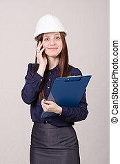 ouvrier construction, parler, a, client, téléphone