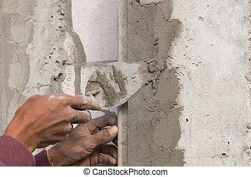 ouvrier construction, plâtrier, béton, maison, mur