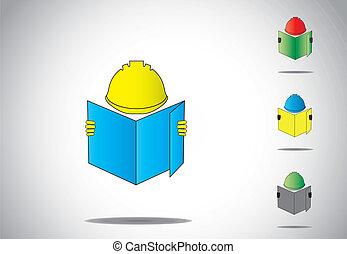 ouvrier construction, plan, homme