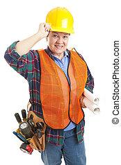 ouvrier construction, poli, femme