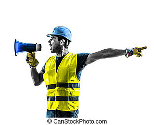 ouvrier, construction, porte voix, silhouette, signaler