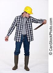 ouvrier construction, presse-papiers