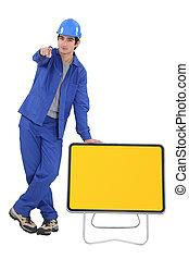 ouvrier construction, route, signe jaune