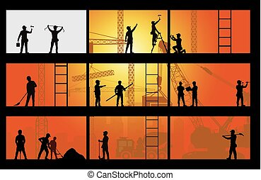 ouvrier, construction, silhouette