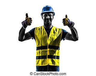 ouvrier, construction, silhouette, signaler, haut