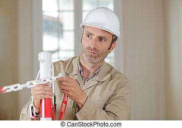 ouvrier construction, site, bâtiment