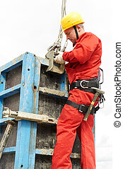 ouvrier construction, site, mounter